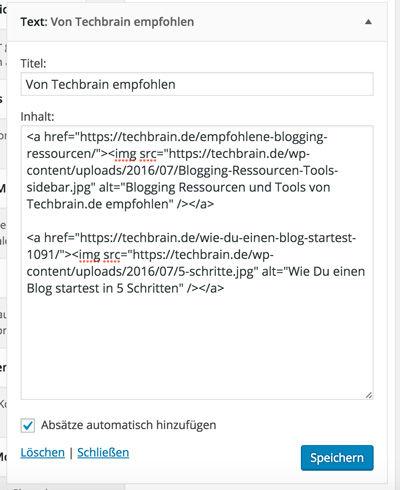 Ein Text-Widget mit zwei empfohlenen Beiträgen versehen.