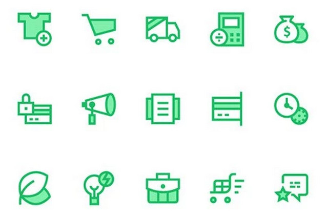 green-ecommerce-icons