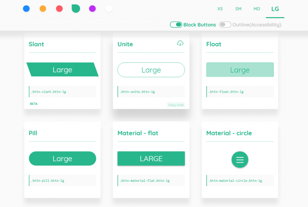 CSS Pretty Buttons With bttn css