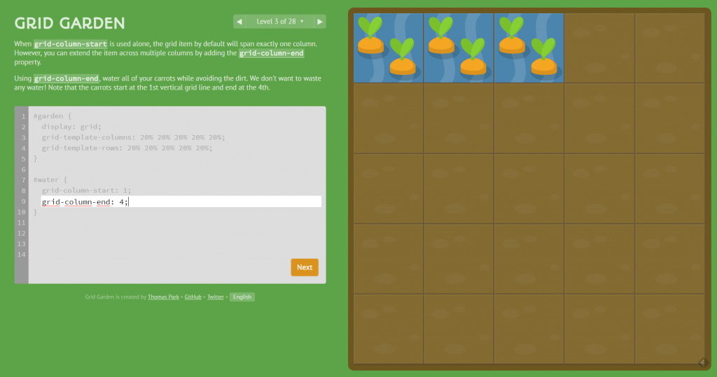 Css grid garden teaches you css grid in a playful way noupe for Html css grid