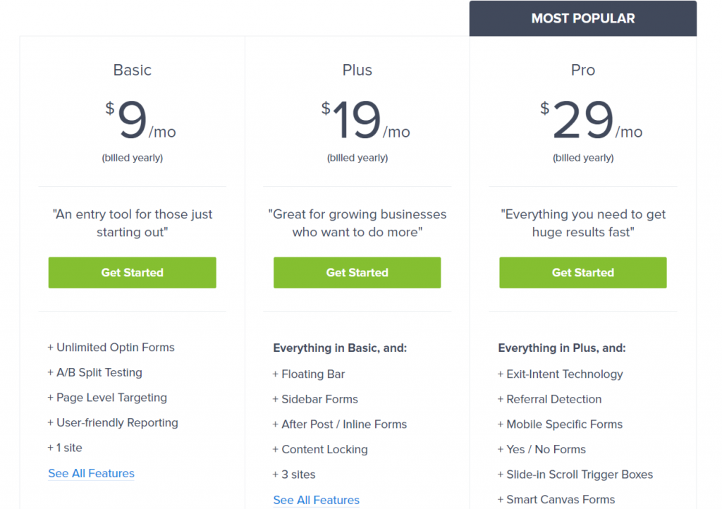 5 Powerful Email Subscription Plugins: Optinmonster prices