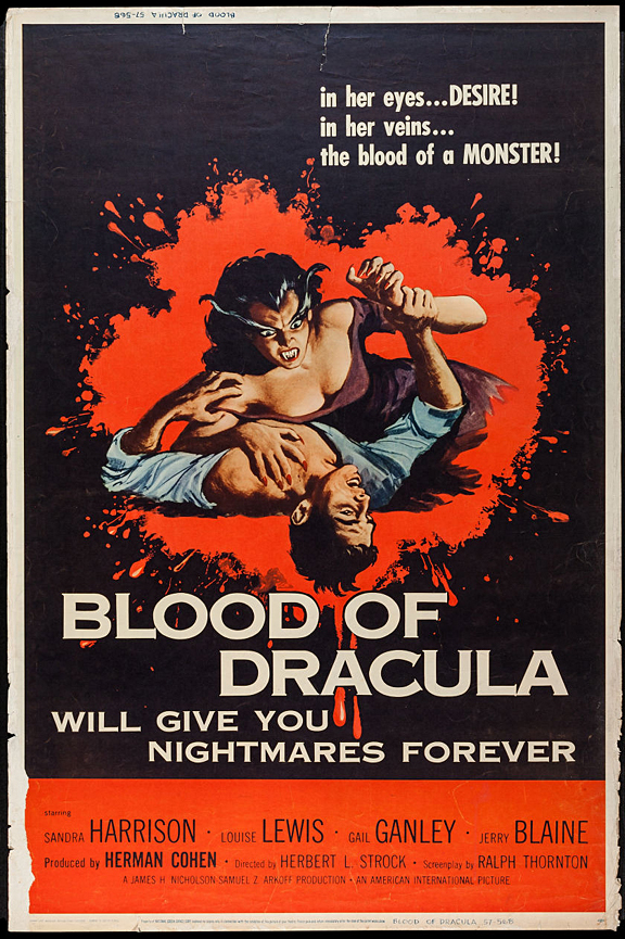 Blood of Dracula Retro Horror Movie Poster