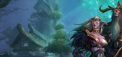 World of Warcraft art with two nightelfs in a forest