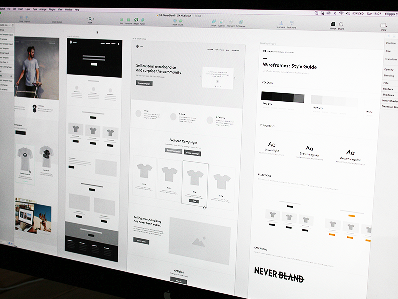 wireframe examples for the Neverbland website