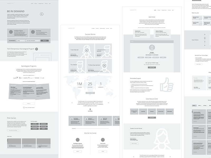 wireframe examples for the Udacity website