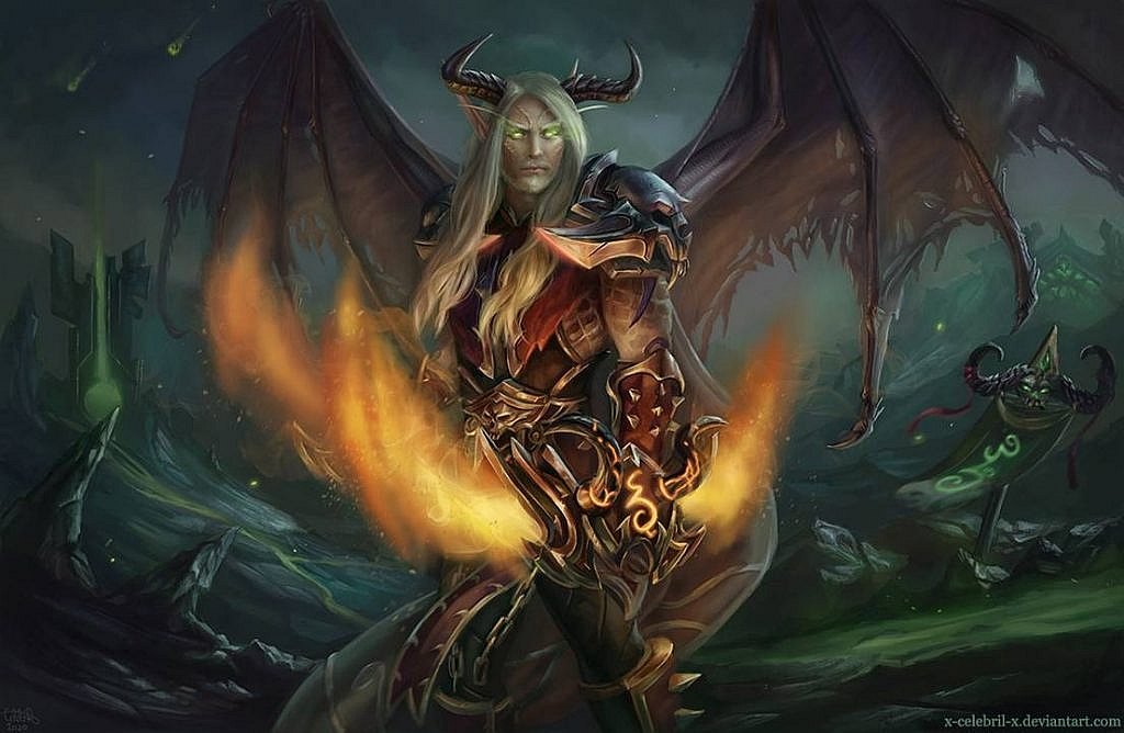 World of Warcraft Art Blood Elf Demon Hunter