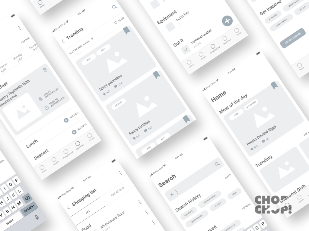 wireframe examples of the Setapp mobile application