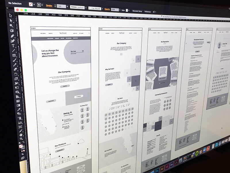 wireframe examples for the TedTodd website