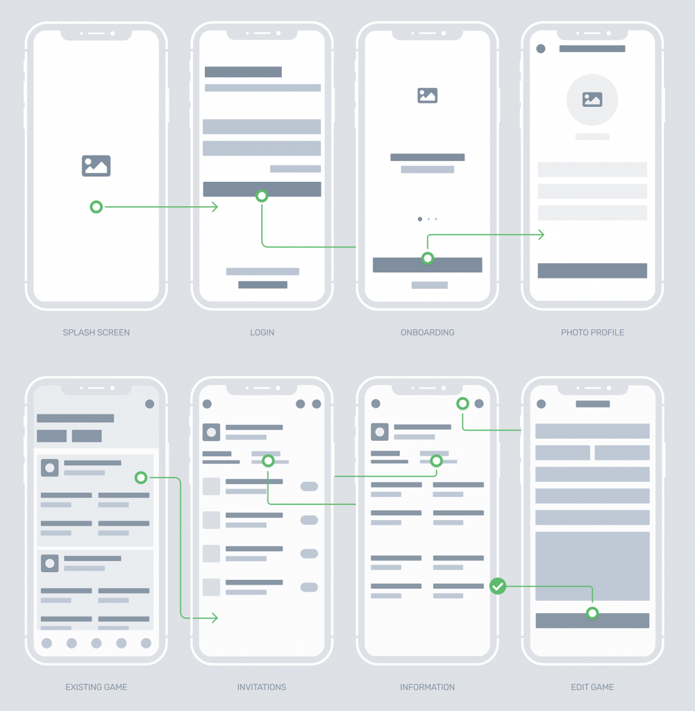wireframe examples of the Manrim mobile application