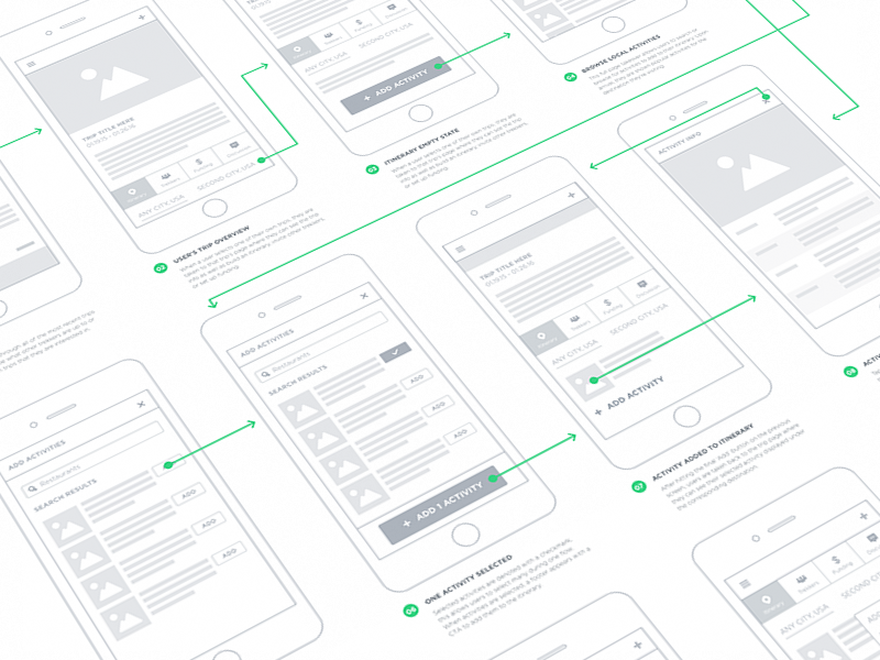 wireframe examples of the Underbelly mobile application