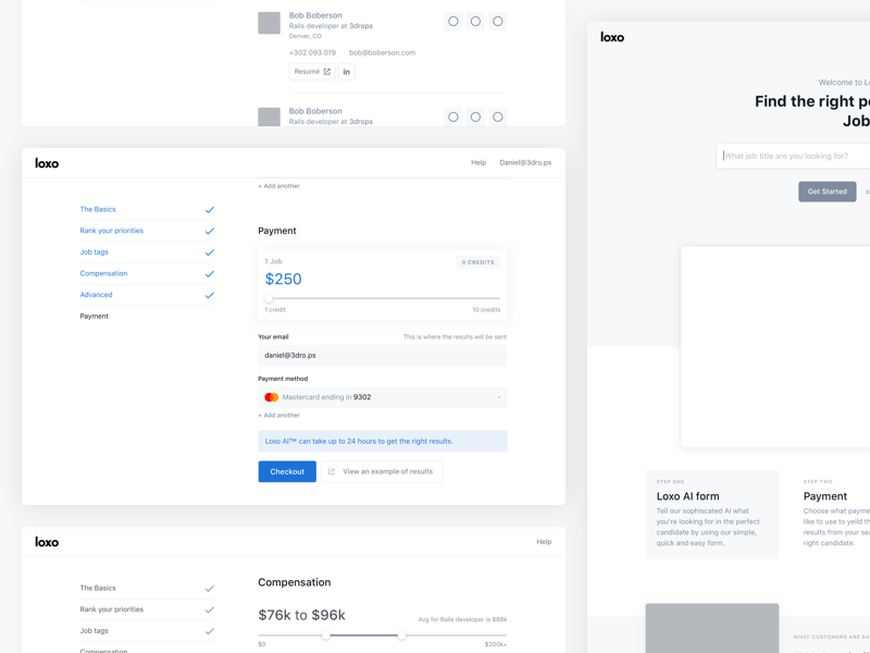 wireframe examples of a checkout page