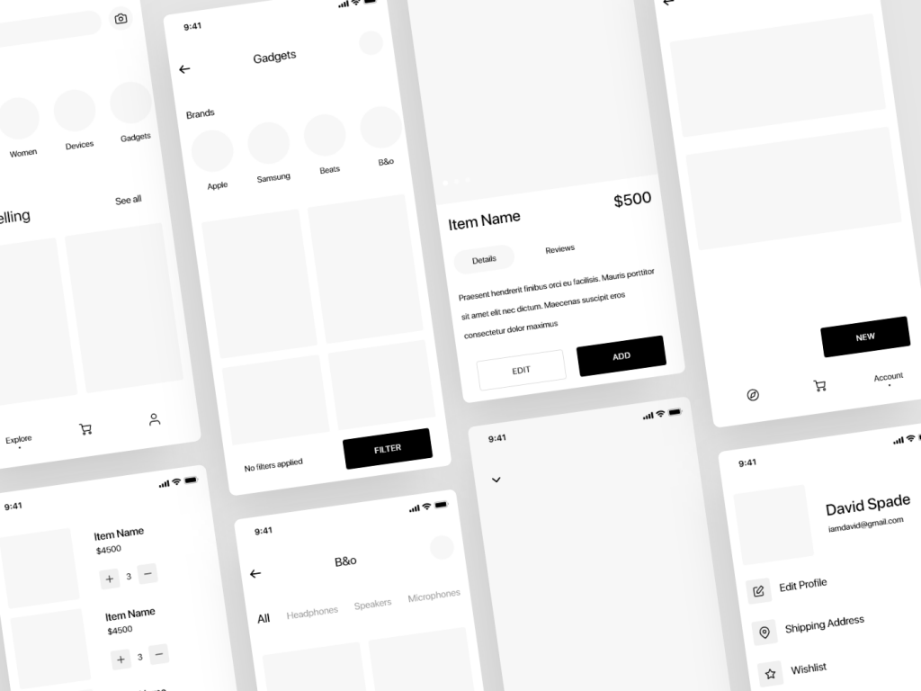 wireframe examples of a mobile app by Dumnoi Ikechukwu