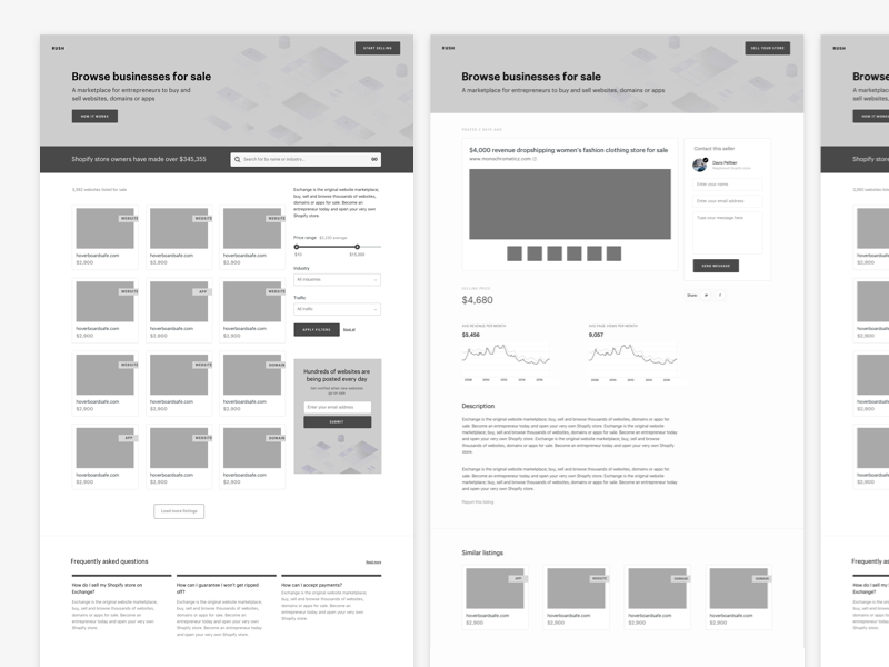 wireframe examples of a website by Janna Hagan