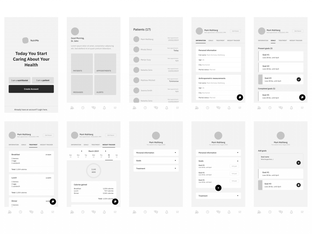 wireframe examples of a mobile app by Madalin Duca