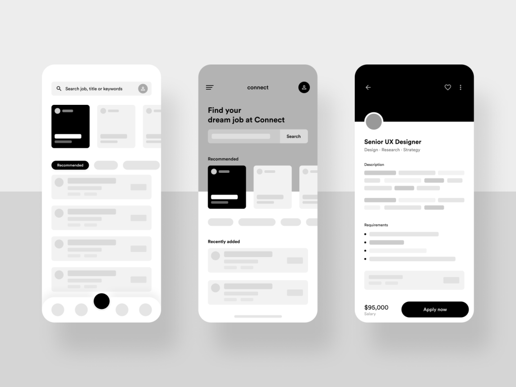 wireframe examples of a mobile app by Mallik Cheripally