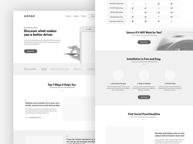 wireframe examples of a website by Stelian Subotin