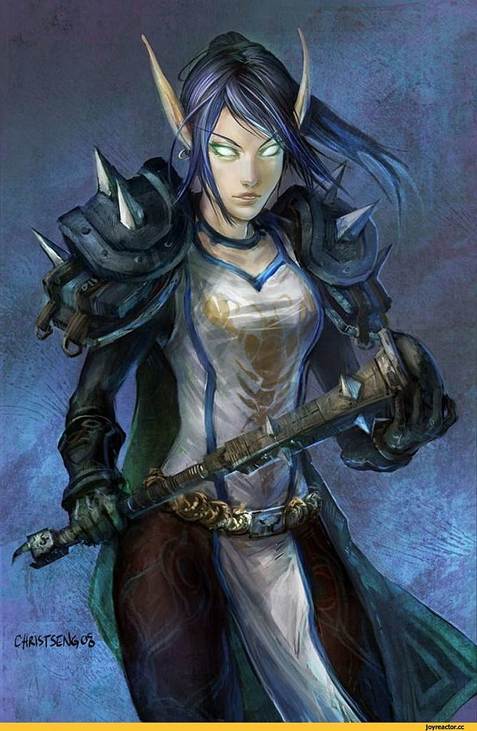 World of Warcraft Art Female Blood Elf Deathknight