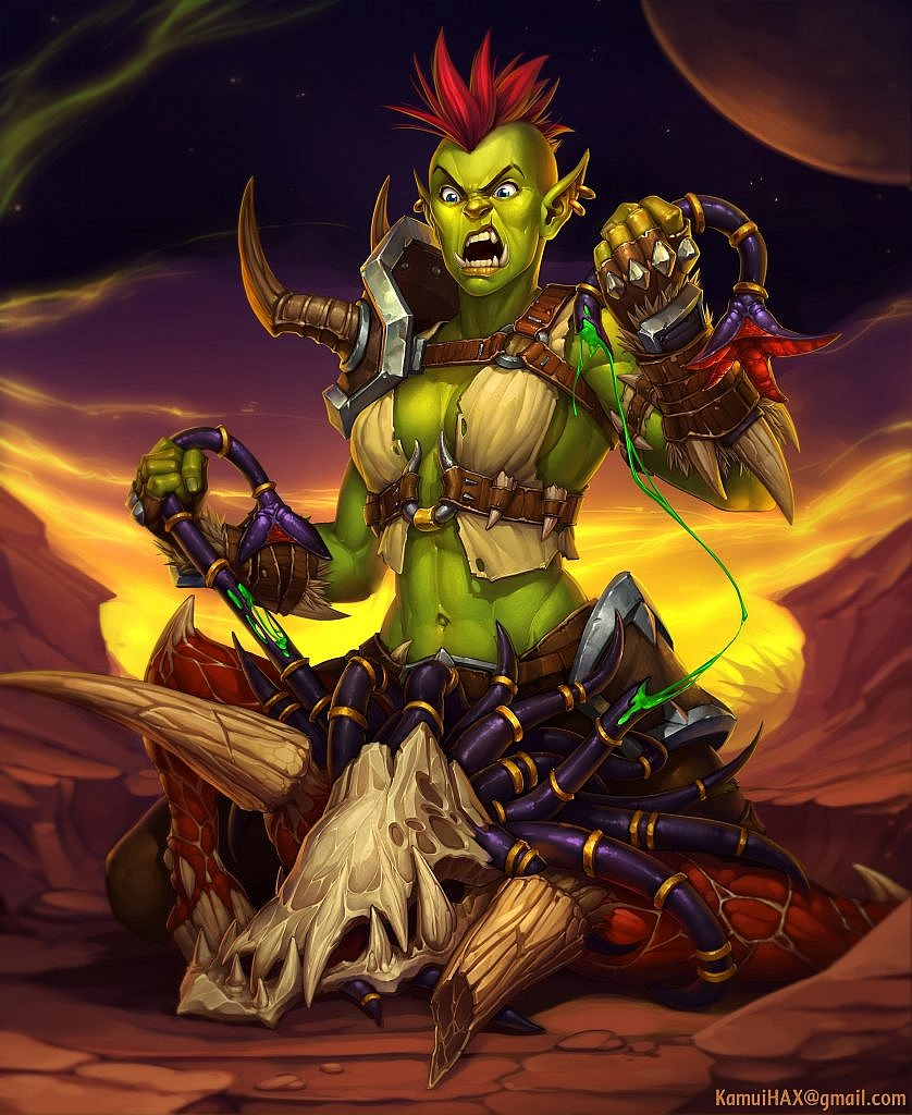 World of Warcraft Art Orc and Fellstalker