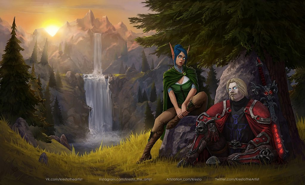 World of Warcraft Art Nightelf and Human