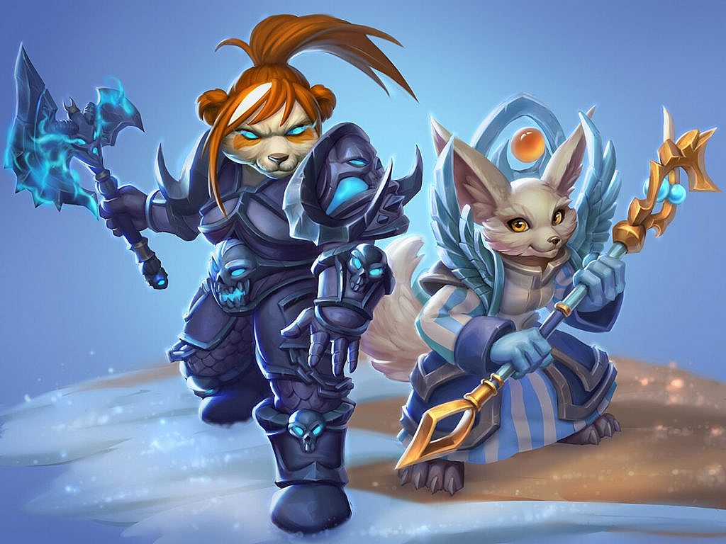 World of Warcraft Art Pandaren Dk and Vulpera Priest