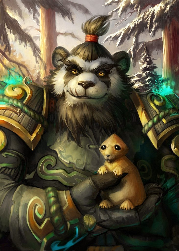 World of Warcraft Art Pandaren Monk with Puny Marmot