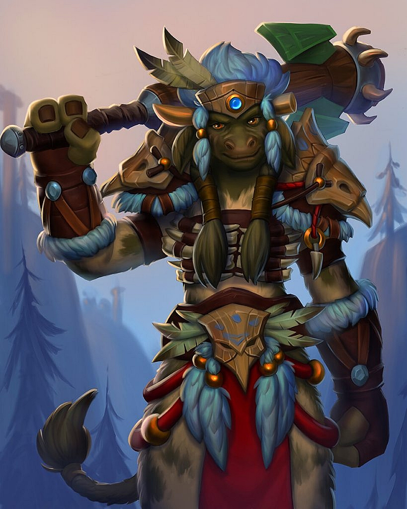 World of Warcraft Art Tauren Warrior with Heritage Armor