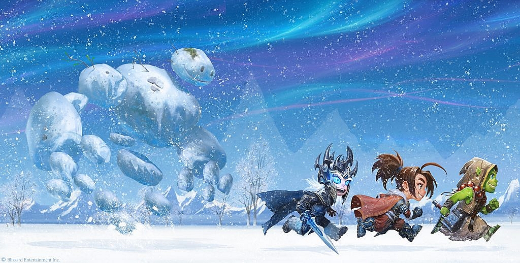 World of Warcraft Art Arthas, Thrall, and Varian running in the snow
