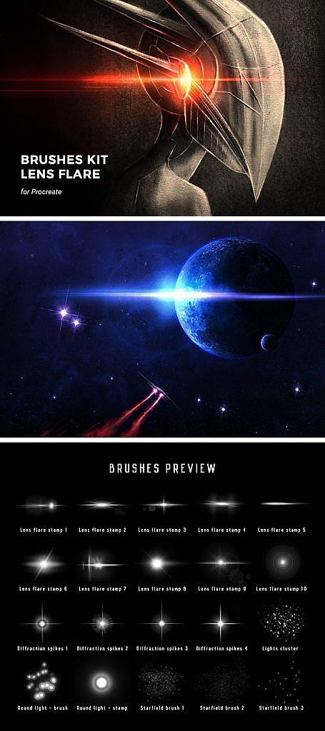 Galactic Lens Procreate Brushes