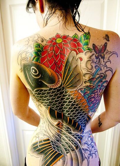 traditional japanese tattoo koi fish back tattoo