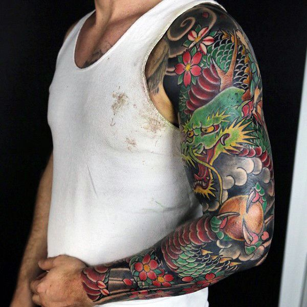 traditional japanese tattoo dragon arm tattoo