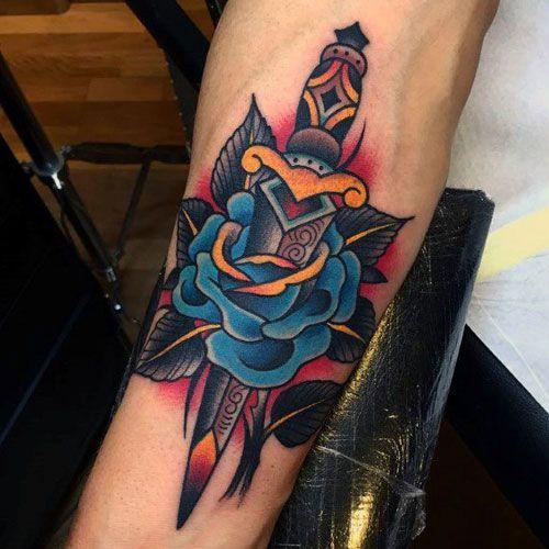 Traditional American tattoo dagger design
