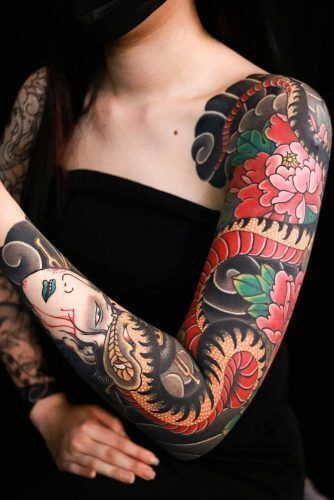traditional japanese tattoo nure-onna tattoo