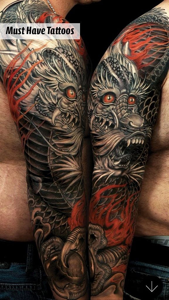 traditional japanese tattoo detailed dragon tattoo