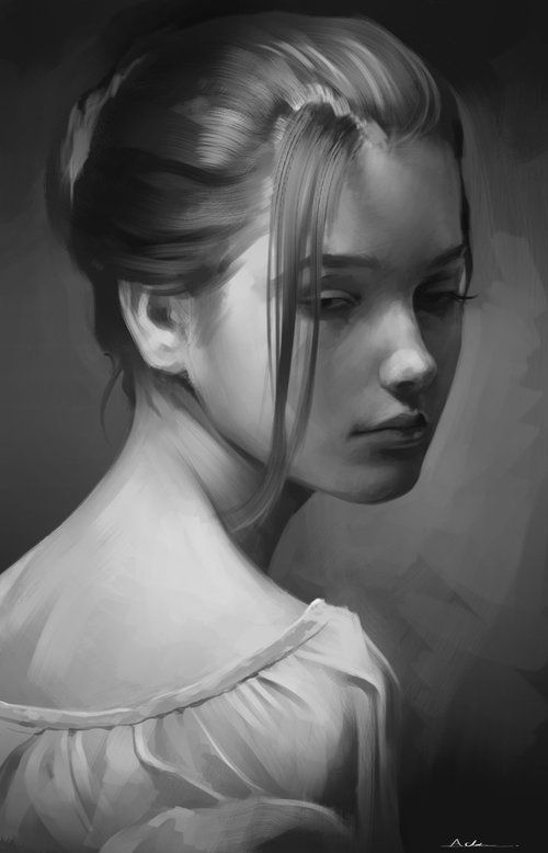 a portrait drawing of a girl