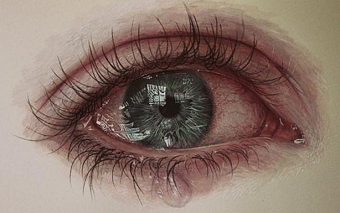 eye drawing with tears
