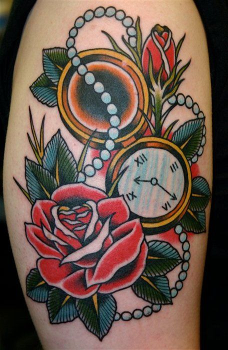 traditional american tattoo rose and clock tattoo