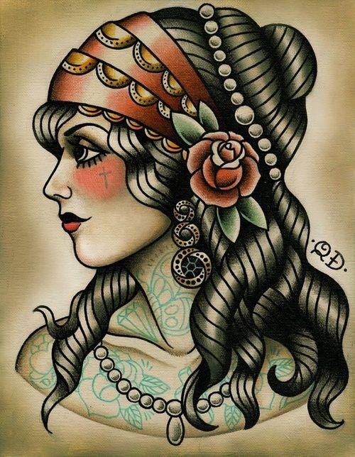 traditional american tattoo gypsy woman tattoo