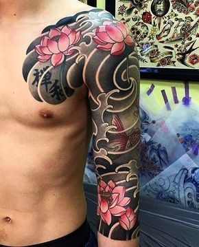 traditional japanese tattoo water lily tattoo