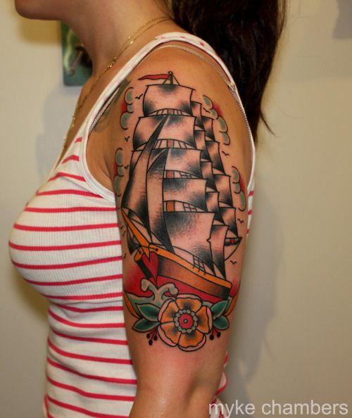 traditional american tattoo ship tattoo