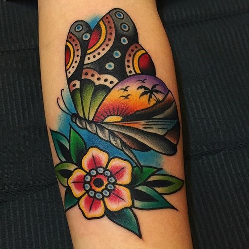 traditional american tattoo butterfly tattoo