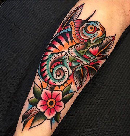 traditional american tattoo chameleon tattoo