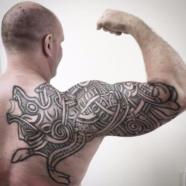 nordic tattoo wolf shoulder tattoo