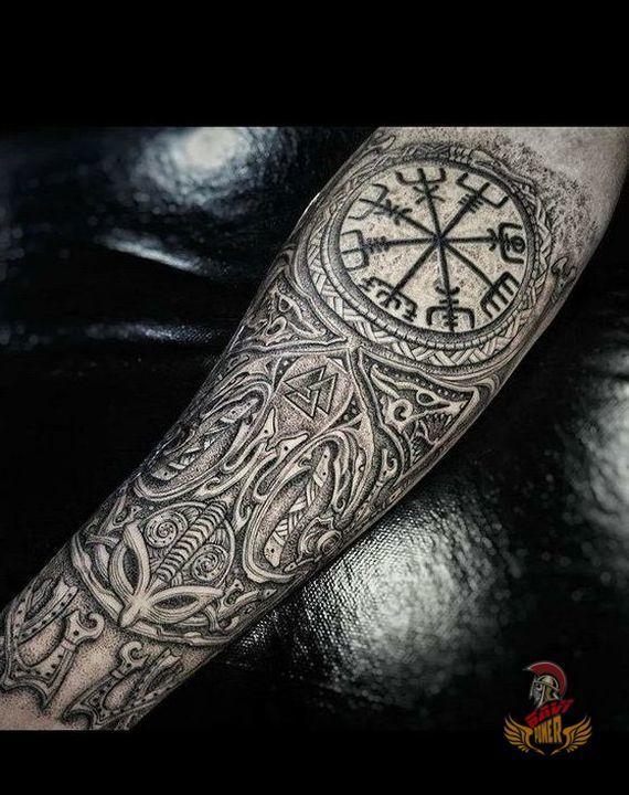 nordic tattoo viking compass tattoo
