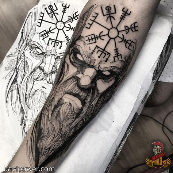 nordic compass and viking tattoo