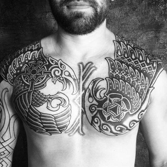 full pectoral nordic tattoo