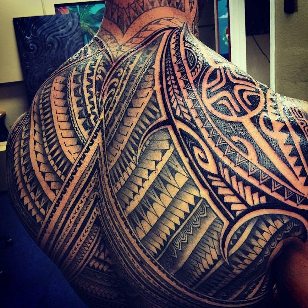 traditional polynesian tattoo full back tattoo