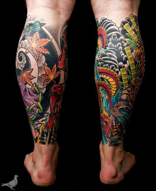 traditional japanese tattoo leg tattoos