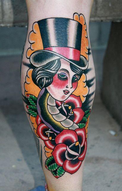 traditional american tattoo snake woman tattoo