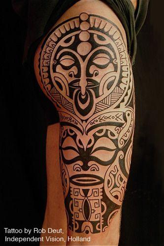 traditional polynesian tattoo tiki totem tattoo