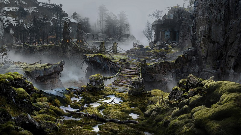 god of war concept art nithogg's lair